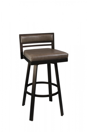 Callee's Carson Brown Swivel Bar Stool with Low Upholstered Back, Square Thick Seat Cushion, and Metal Frame