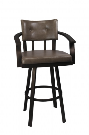 Callee's Kingston Brown Swivel Bar Stool with Arms and Button-Tufting on Back with Brown Vinyl