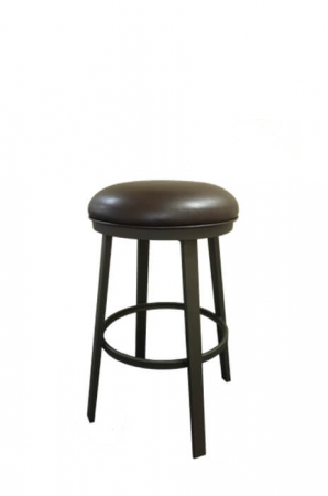 Callee's Carson Backless Swivel Bar Stool with Round Seat Cushion in Brown and Metal Base