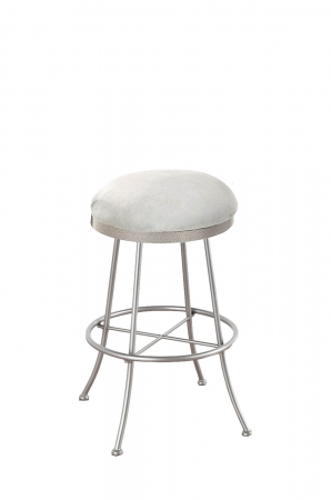 Callee's Albany Backless Swivel Bar Stool with Round Seat Cushion and Metal Frame in Light Nickel Color