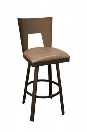 Callee's Midland Swivel Bar Stool with Metal Back in Bronze, Brown Seat Cushion, and Metal Frame - Modern Stool