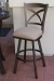 Callee's Edison Outdoor Swivel Bar Stool with Cross Back Design in Bronze Metal Finish and Seat Cushion