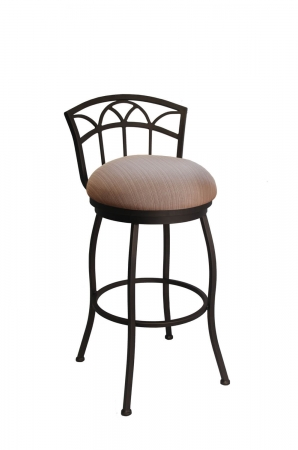 Callee's Fairview Outdoor Swivel Bar Stool with Low Back in Bronze Finish and Brown Seat Cushion