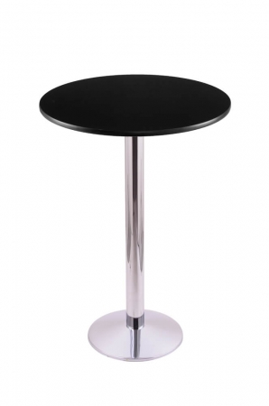 Holland's #214-16 Table with Chrome Base and Black Round Top