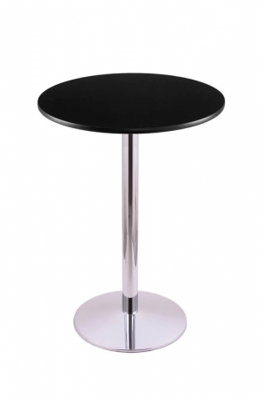 Holland's #214-22 Table with Chrome Base and Black Round Top