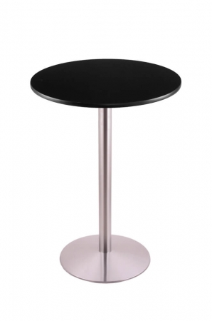 Holland's #214-22 Table with Stainless Steel Base and Black Round Top