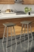 Amisco's Anders Backless Swivel Bar Stools with Square Seat Cushion in Brown and White Modern Kitchen
