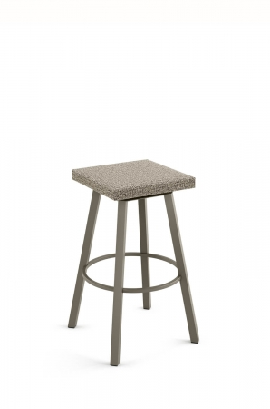 Amisco's Anders Backless Swivel Bar Stool with Square Seat Cushion and Round Base