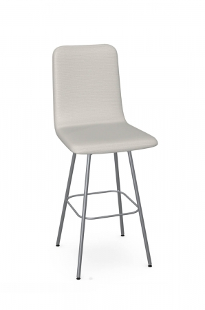 Amisco's Bray Upholstered Swivel Bar Stool in Silver