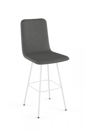 Amisco's Bray Upholstered Swivel Bar Stool with Charcoal Cushion and White Metal Finish