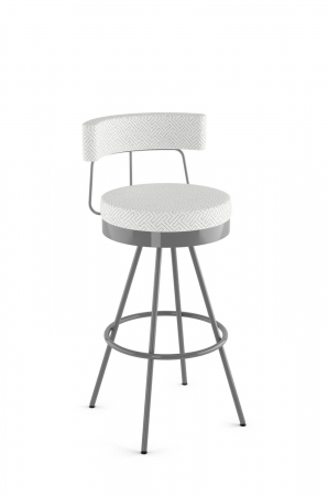 Amisco's Umbria Upholstered Swivel Metal Bar Stool with Low Back in Silver Metal and White Pattern