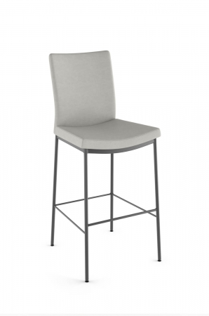 Amisco's Osten Upholstered Stationary Bar Stool with Scoop Seat in Light Gray Fabric and Gray Metal Legs