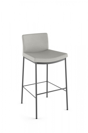 Amisco's Osten Upholstered Stationary Bar Stool with Low Back, Scoop Seat, and Metal Legs in Gray
