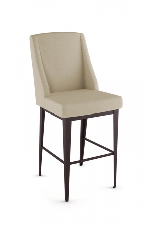 Amisco's Bridget Upholstered Farmhouse Formal Bar Stool in Tan Fabric and Brown Metal Finish Base