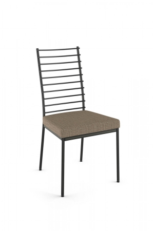 Amisco's Lisia Industrial Metal Dining Chair with Ladder Back Design and Thick, Square Seat Cushion
