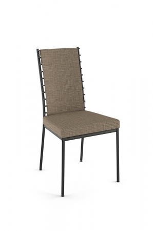 Amisco's Lisia Dining Chair Upholstered Back and Seat in Brown/Tan Fabric