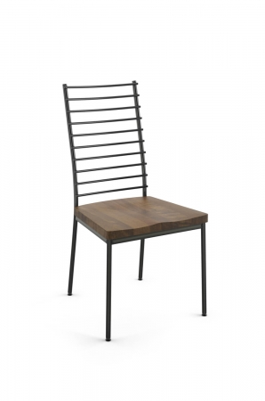 Amisco's Lisia Ladder Back Metal Dining Chair with Distressed Wood Seat