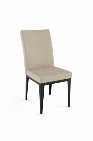 Amisco's Alto Upholstered Quilted Dining Chair with Tall Back and Metal Legs