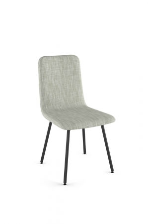 Amisco's Bray Upholstered Dining Chair in White Fabric and Black Metal Base Finish
