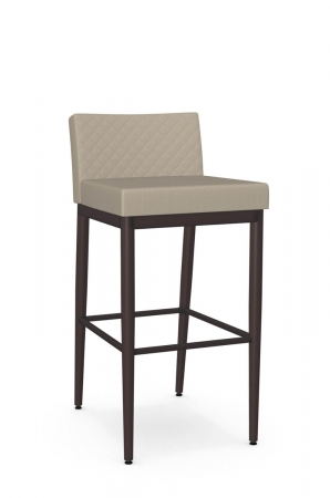 Amisco's Hanson Modern Low Back Bar Stool in Espresso Metal and Quilted Tan Back