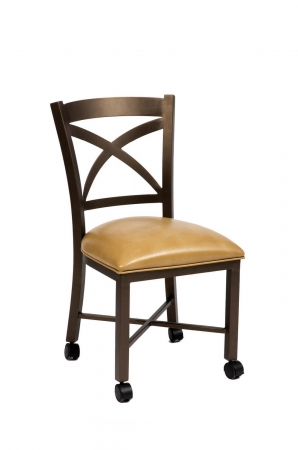 Wesley Allen's Edmonton Metal Dining Chair with Cross Back Design and Casters on Feet