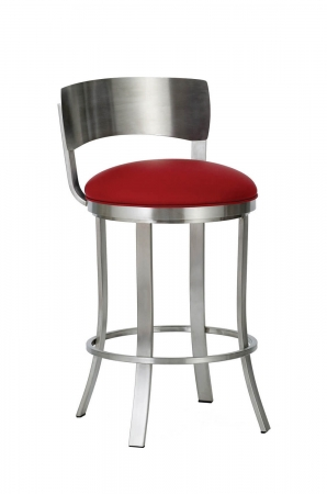 Wesley Allen's Baltimore Swivel Bar Stool with Metal Back in Stainless and Round Seat Cushion