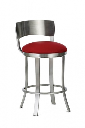 Wesley Allen's Baltimore Backless Swivel Bar Stool with Metal Back in Stainless and Round Seat Cushion