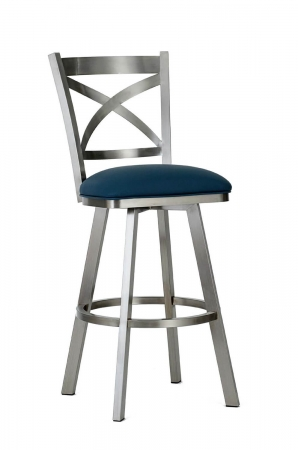 Wesley Allen's Edmonton Swivel Barstool with Back in Stainless Steel metal finish and Blue seat cushion