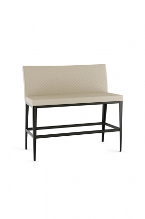 Amisco's Pablo Bar Height Bench with Quilted Upholstered Back and Seat in Cream