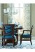 Fairfield's Mackay Transitional Dining Chairs with Blue Upholstered and Brown Wood Finish in Blue and Bright Dining Room