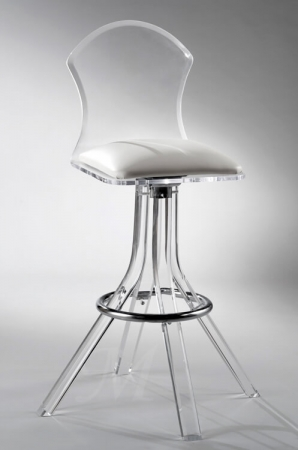 Muniz Aspen Mushroom Acrylic Swivel Bar Stool with Back and White Seat Cushion