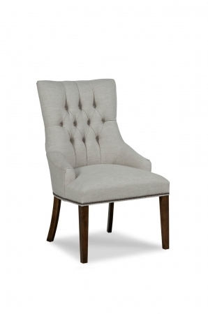 Fairfield's Clancy Wooden Upholstered Dining Chair with Button-Tufted Back and Partial Arms