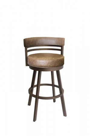 Callee's Ambridge Brown Swivel Bar Stool with Low Back and Four Legs with Footrest