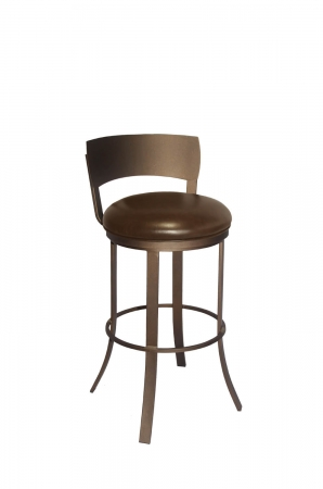 Callee's Bailey Brown Swivel Metal Bar Stool with Low Back - Modern Style