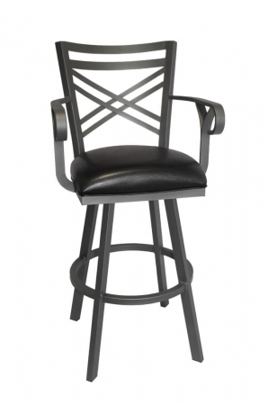 Callee's Rebecca Black Swivel Transitional Bar Stool with Arms