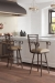 Callee's Rebecca Transitional Metal Swivel Counter Stools with Arms Near Transitional White Island