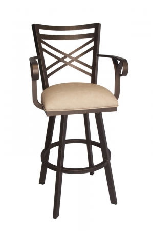 Callee's Rebecca Brown Swivel Bar Stool with Cross Back, Arms, and Tan Seat Cushion
