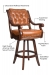 Darafeev's Ponce De Leon Wood Swivel Stool featuring decorative nailhead treatments, suspension seating, high resilient foam, solid metal footplate, and high quality American made swivel function.