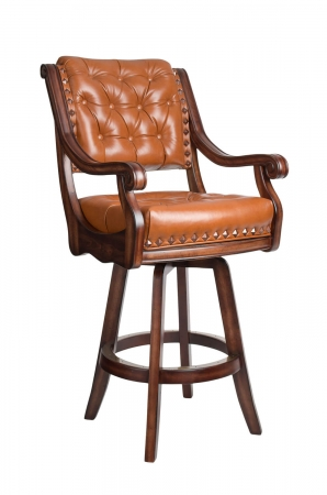 Darafeev's Ponce De Leon Luxury Wooden Swivel Bar Stool with Arms, Button Tufting on Back, and Nailhead Trim