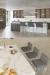 Muniz Venice Modern Lucite Acrylic Bar Stools in Gray Cushion in Modern Large Kitchen