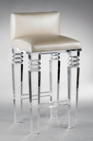 Muniz' Venice Acrylic Stationary Bar Stool with Upholstered Low Back and Seat
