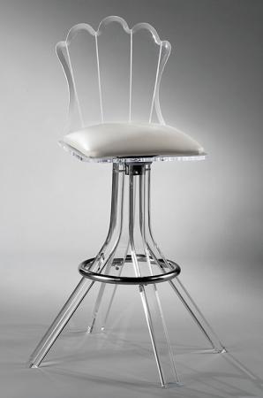 Muniz' Scallop Acrylic Modern Swivel Bar Stool with Back and Seat Cushion