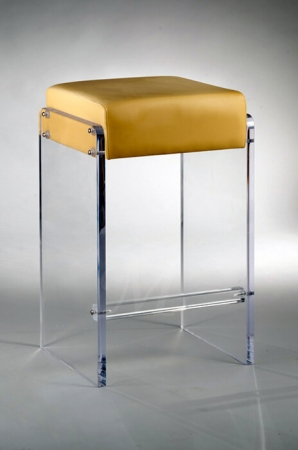 Muniz' Laredo Acrylic Backless Stationary Modern Bar Stool with Seat Cushion