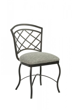 Wesley Allen's Boston Traditional Metal Dining Chair with Seat Cushion and Lattice Back