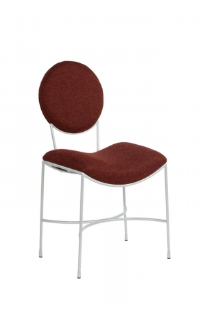 Wesley Allen's Jamestown Modern Dining Chair with Round Back and Sloped Seat - In Red Fabric