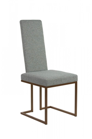 Wesley Allen's Brentwood Upholstered Dining Chair with Tall Back and Modern Sled Metal Base