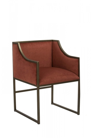 Wesley Allen's Mila Upholstered Dining Chair in Red Fabric and Brass Bisque Metal - With Arms