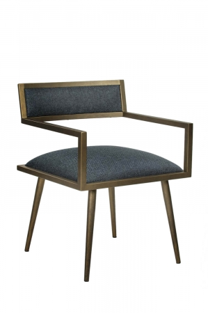 Wesley Allen's Zara Brass and Blue Modern Dining Chair with Arms