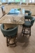 Darafeev's Ace Low Back Wood Counter Stool in Brown and Blue Cushion in Customer Kitchen