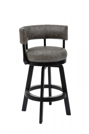 Darafeev's Ace Wooden Modern Swivel Bar Stool with Low Back in Gray and Black